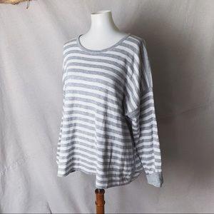 EILEEN FISHER Organic Cotton Striped Sweatshirt XL